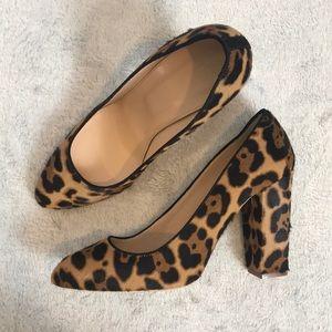 J Crew calf hair leopard print Leather block heel